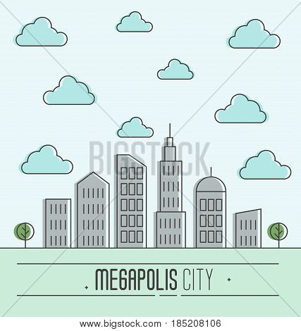 Buildings silhouette cityscape. Megapolis city in flat style. Blue sky with clouds. Vector illustration