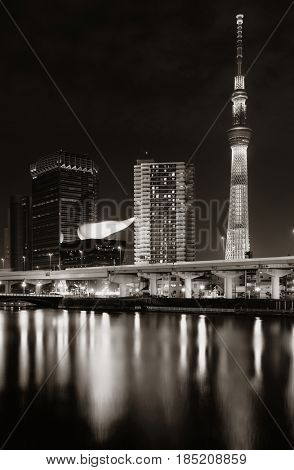 TOKYO, JAPAN - MAY 15: Skytree at night as the city landmark on May 15, 2013 in Tokyo. Tokyo is the capital of Japan and the most populous metropolitan area in the world