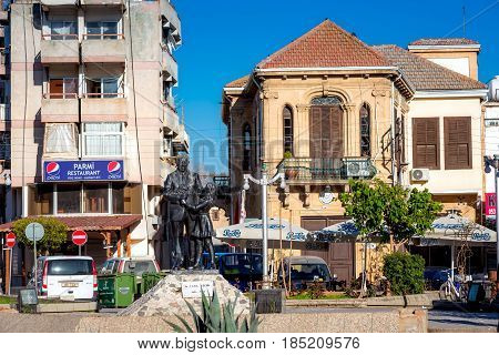 NICOSIA CYPRUS - MARCH 24: Inonu Square at the entrance of the walled city of Nicosia