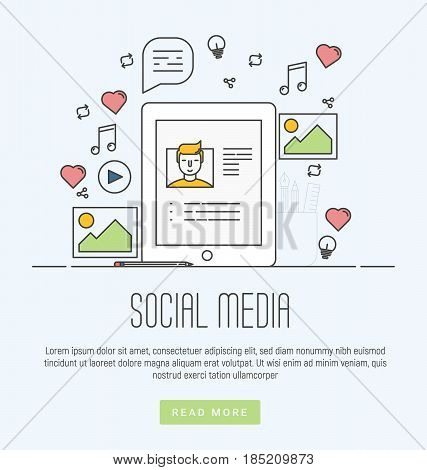 Infographics of social media networking, marketing, storytelling, producing creative, sharing of digital content. Modern thin line flat vector illustration for web banners, printed materials.