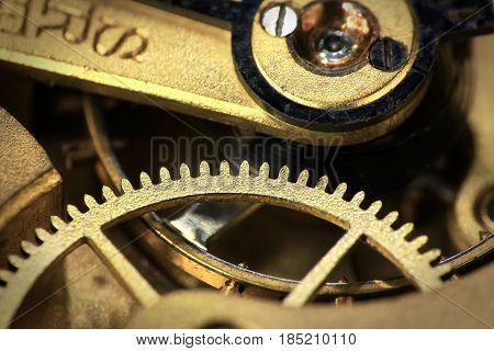Old swiss made pocket watch inside mechanism close up