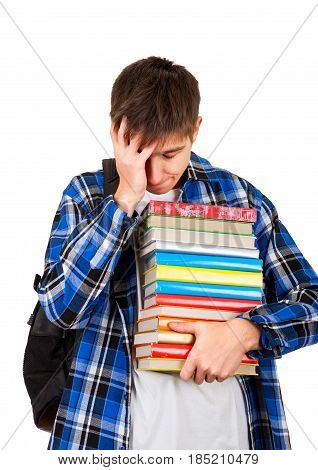 Sad and Tired Student with the Books Isolated on the White Background