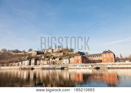 The waterfront of Namur on the river Meuse with the Parliament of Wallonia on the right Belgium