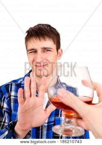 Young Man refuse an Alcohol Isolated on the White Background