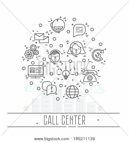 Support service icons set - vector thin line call center symbols or customer service logo elements. Call center.