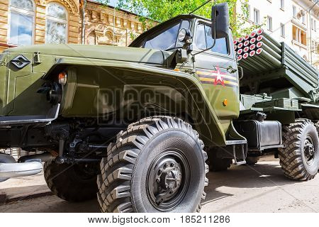 Samara Russia - May 6 2017: BM-21 Grad 122-mm Multiple Rocket Launcher on Ural-375D chassis at the city street in Samara Russia