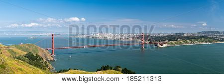High resolution stitched panorama of the Golden Gate Bridge and San Francisco taken from Marin Headlands on clear spring day