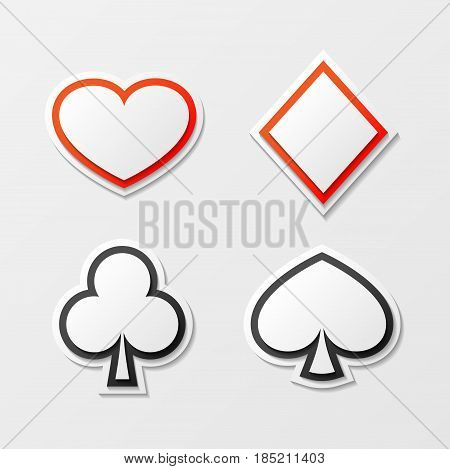 Set of red and black cards suit isolated on white background