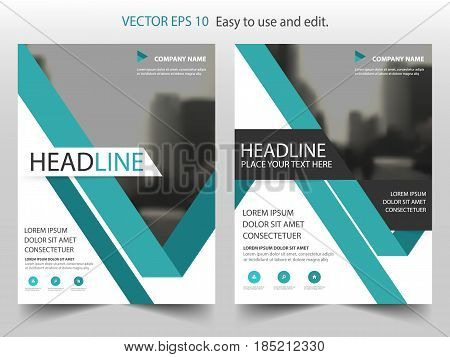 Green abstract triangle annual report Brochure design template vector. Business Flyers infographic magazine poster.Abstract layout template Book Cover presentation portfolio.