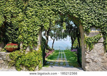 Ravello Amalfi Coast Italy - entrance to Belvedere Principessa di Piemonte gardens terrace