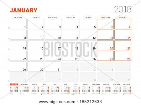 Calendar Template For 2018 Year. January. Business Planner With Year Calendar. Stationery Design. We