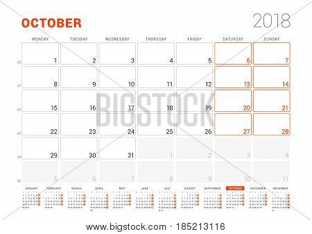 Calendar Template For 2018 Year. October. Business Planner With Year Calendar. Stationery Design. We