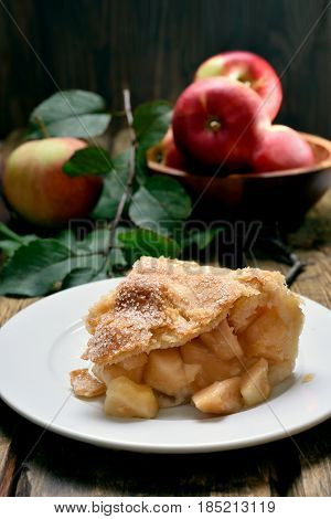 Piece of apple pie and fresh fruits on wooden table