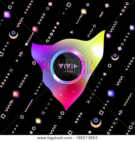 Poster Rainbow Volumetric Figures Memphis Style Elements-01.eps