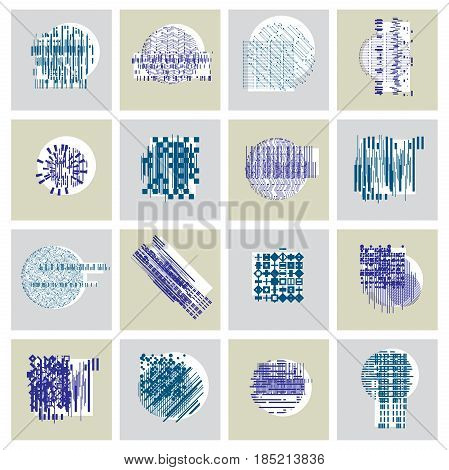 Abstract Geometric Compositions Set, Vector Backgrounds Collection.