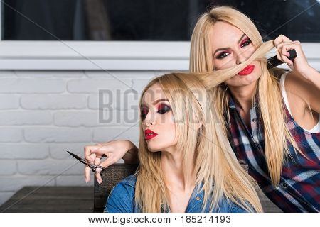 Barbershop, Scissors In Hand Of Hairdresser With Blond Woman