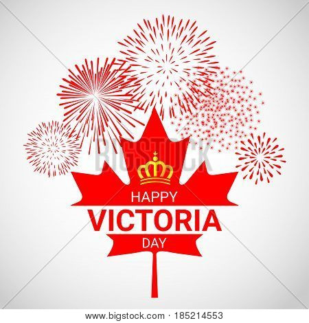 Canada maple Leaf with fireworks for celebrate the Victoria day