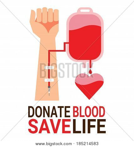 Bag blood with hand of donor for World Blood Donor Day poster
