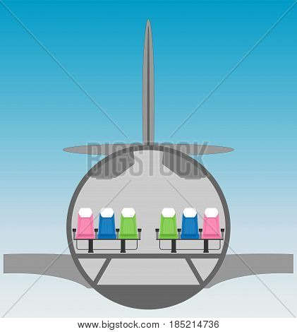 Narrow Body Airplane Cross Section With Blue Sky