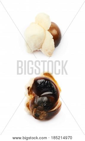 Semi-opened popcorn kernel isolated over the white background, set of two different foreshortenings