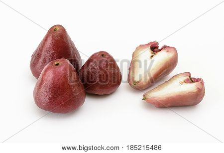 Wax apples or Rose Apples on a white background