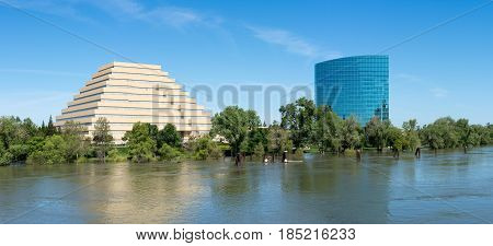 SACRAMENTO, CALIFORNIA - APRIL 23: Flood on Sacramento River on April 23, 2017. Record rain and snow raised levels on the river.