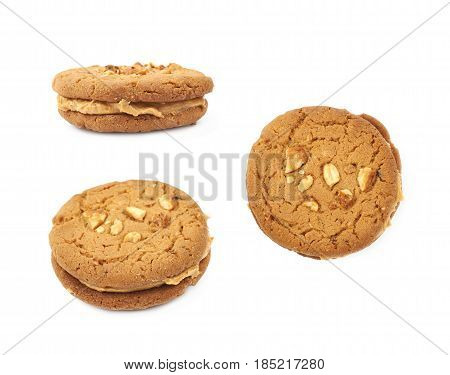 Peanut butter homemade cookie isolated over the white background, set of three different foreshortenings