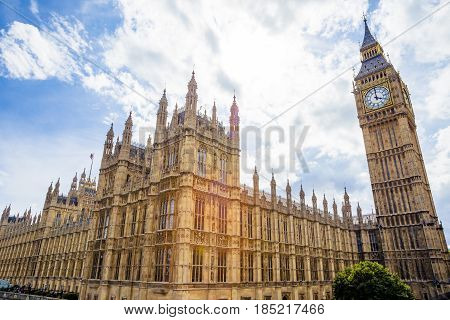 Summer View Of The Palace Of Westminser In London And The Big Ben