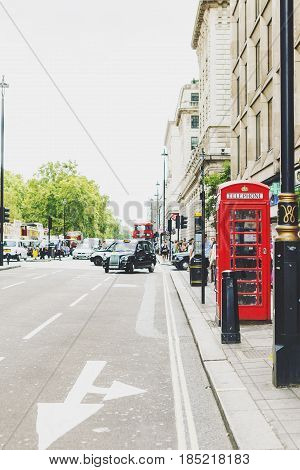One Of The Characteristic Red Phone Box In Central London