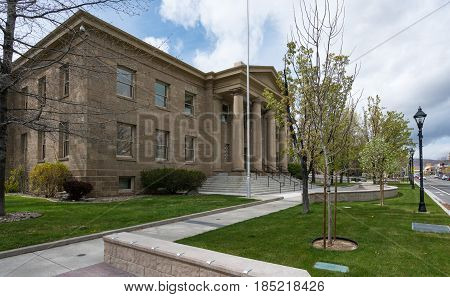 Entrance to the Ormsby County Courthouse in Carson City, Nevada