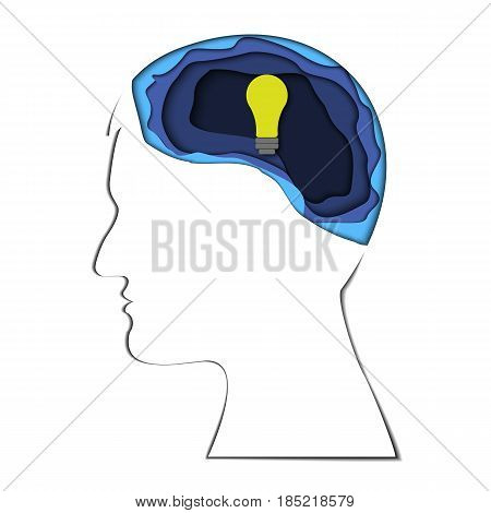 Knowledge is light theme 3d, made in paper style, , vector design for info graphics, websites, mobile and print media. Eureka. Man who had a brain-wave