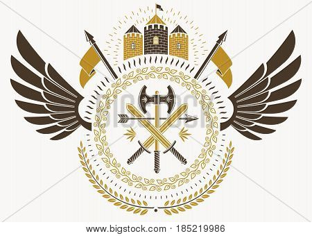 Vintage Heraldry Design Template With Bird Wings, Vector Emblem Created With Medieval Castle And Arm