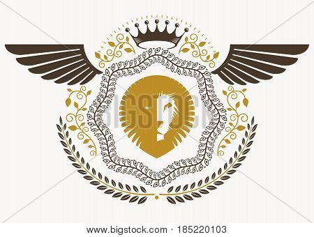 Vintage heraldry design template with bird wings vector emblem created with wild lion illustration and monarch crown