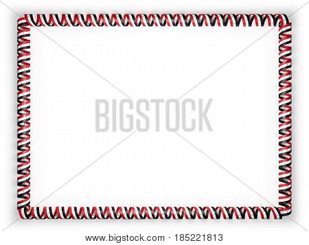 Frame and border of ribbon with the Syria flag. 3d illustration