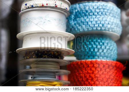 Various Choice Of Different Colorful Decorative Ribbons At Traditional Notions Store.