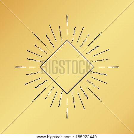 Vector sun burst vintage hand drawn hipster retro ray logo template. Golden shiny metal texture background. Radial thin ink brush black paint lines. Banner design explosion concept idea frame border.