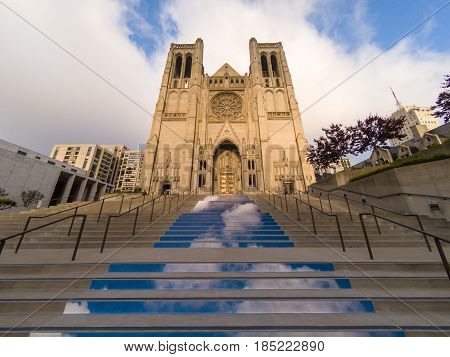Steps leading to Grace Cathedral in San Francisco, California with clouds displayed on each stair