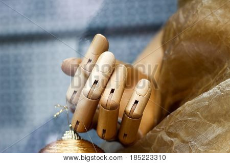 Close Up Of A Hand Of A Big Wooden Man Model For Painting. Fingers