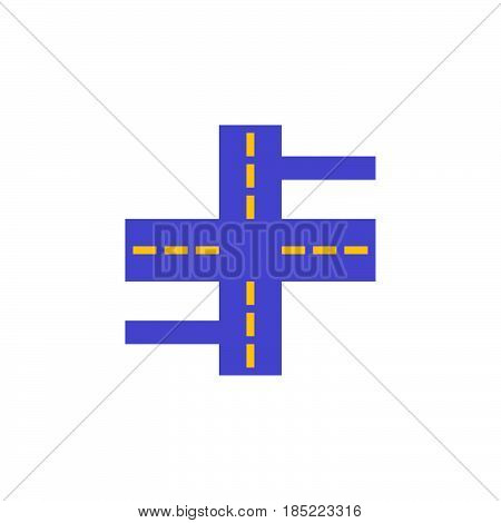 Crossroads Icon Vector, Streets Filled Flat Sign, Solid Colorful Pictogram Isolated On White, Logo I