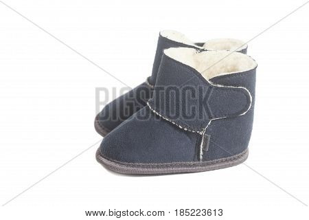 children winter boots isolated on white background