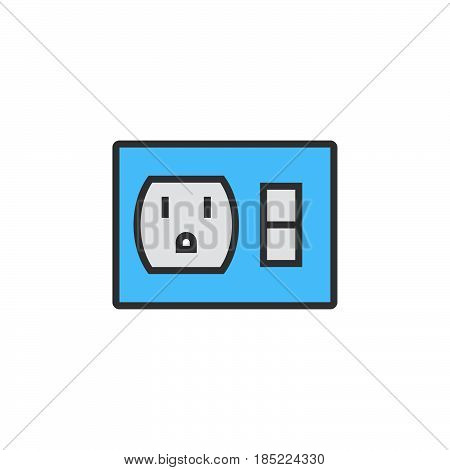 Outlet Switch Line Icon, Filled Outline Vector Sign, Linear Colorful Pictogram Isolated On White. Lo