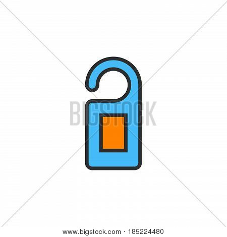 Door Hanger Line Icon, Filled Outline Vector Sign, Linear Colorful Pictogram Isolated On White. Logo