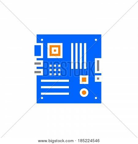 Personal Computer Motherboard Icon Vector, Filled Flat Sign, Solid Colorful Pictogram Isolated On Wh