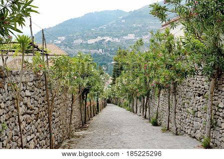 Ravello Amalfi coast Italy - picturesque view of a stone flight of steps