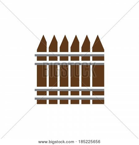 Wooden Fence Icon Vector, Railing Filled Flat Sign, Solid Colorful Pictogram Isolated On White, Logo