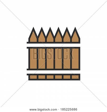 Wooden Fence Line Icon, Railing Filled Outline Vector Sign, Linear Colorful Pictogram Isolated On Wh