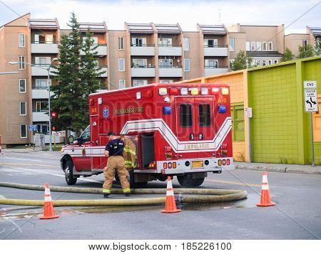 Fairbanks Alaska - August 6 2008 Urban emergency services fire truck on city street Fairbanks Alaska.