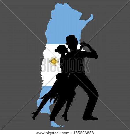 Argentina map and tango on the grey background. Vector illustration