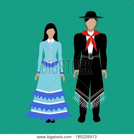 Argentina national costume Gaucho on the green background. Vector illustration