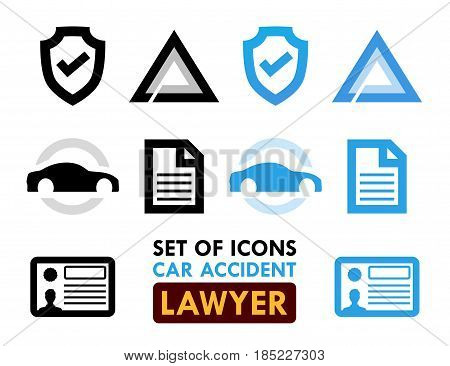 Set of Icons for Car Accident Lawyer Vector Illustrations in Black and Blue colors isolated on white background.